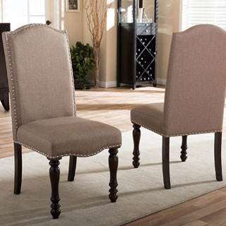 Nautical Beige Fabric 2-piece Dining Chair Set by Baxton Studio