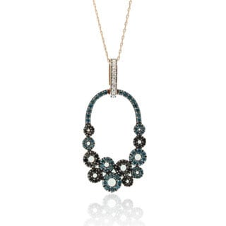 Suzy Levian 14K Rose Gold Blue, Black and White Diamond Pendant