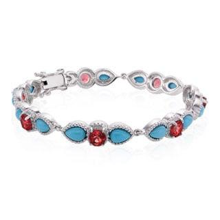 Sterling Silver Sleeping Beauty Turquoise and Swiss Blue Topaz Line Bracelet