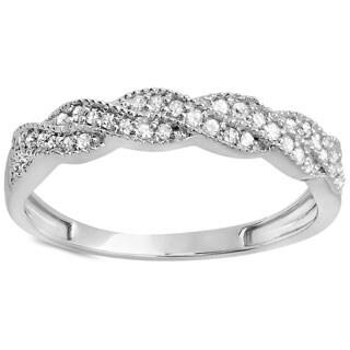 Elora 14k White Gold 1/4ct TDW Diamond Vintage Band Swirl Ring