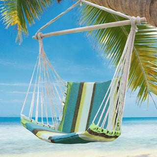 Adeco Cotton Fabric Canvas Hammock Chair Tree Hanging Suspended Outdoor Indoor