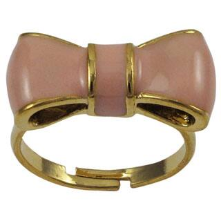 Gold Finish Children's Light Pink Enamel Bow Adjustable Ring - White|https://ak1.ostkcdn.com/images/products/P17995487a.jpg?impolicy=medium