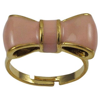 Gold Finish Children's Light Pink Enamel Bow Adjustable Ring - White