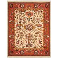 Safavieh Hand-woven Sumak Ivory/ Rust Wool Rug - 6' x 9'