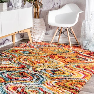nuLOOM Soft and Plush Melting Moroccan Rainbow Trellis Shag Multi Rug (5'3 x 7'6)