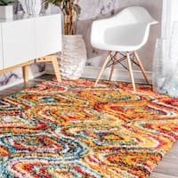 nuLOOM Soft and Plush Melting Moroccan Rainbow Trellis Shag Multi Rug (5' 3 x 7' 6)