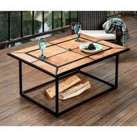 Furniture of America Kindell Rectangular Ceramic Border Fire Pit
