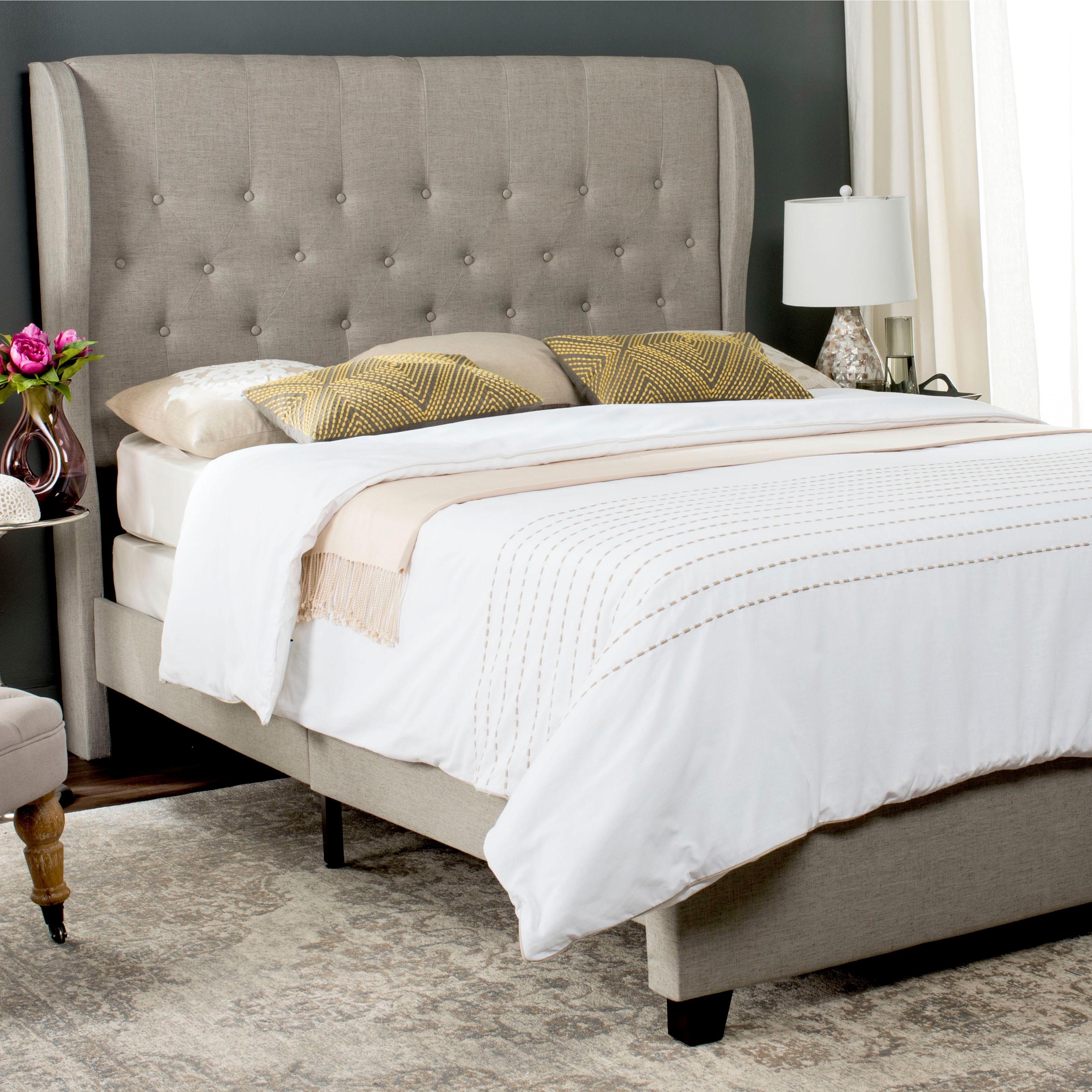 safavieh blanchett light grey linen upholstered tufted wingback bed queen