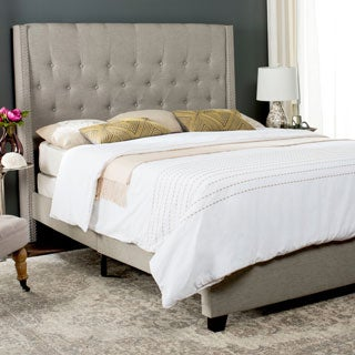 Safavieh Winslet Light Beige Linen Upholstered Tufted Wingback Bed (Queen)