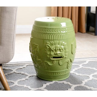 Abbyson Chinese Lion Lime Green Ceramic Garden Stool