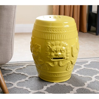 ABBYSON LIVING Chinese Lion Yellow Green Ceramic Garden Stool