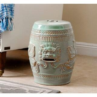 Abbyson Chinese Lion Antique Teal Green Ceramic Garden Stool