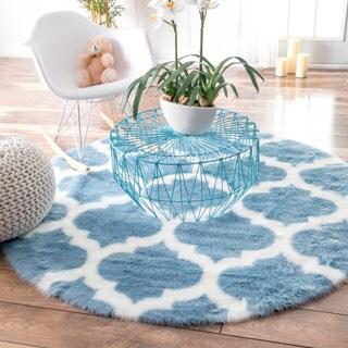 nuLOOM Cozy Soft and Plush Faux Sheepskin Tellis Shag Kids Blue Rug (5' Round)