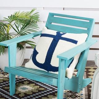 Safavieh Soleil Ahoy Indoor/ Outdoor Marine Blue 20-inch Square Throw Pillows (Set of 2)