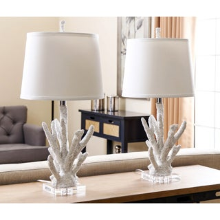 ABBYSON LIVING White Coral Table Lamp (Set of 2)