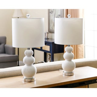 ABBYSON LIVING Camden Gourd White Table Lamp (Set of 2)