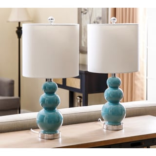 Abbyson Camden Gourd Turkish Blue Table Lamp (Set of 2)