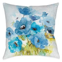 Laural Home Blue Watercolor Bouquet Decorative Throw Pillow (18 inches x 18 inches)