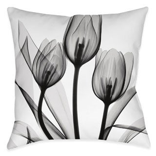 Laural Home X-Ray Monochromatic Tulips Decorative Throw Pillow (18 inches x 18 inches)