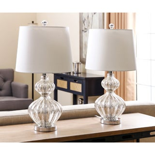 Abbyson Silver Mercury Glass Table Lamp (Set of 2)