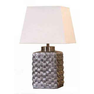 Somette Grey Porcelain Woven Table Lamp