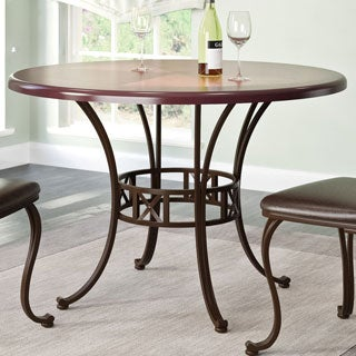 CorLiving Jericho Metal and Warm Stained Wood Dining Table