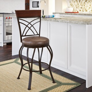 CorLiving Jericho Rustic Brown Metal and Bonded Leather Counter Height Bar Stool