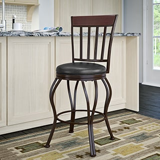 Metal Counter Barstool with Glossy Brown Leather Seat