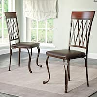 CorLiving Jericho Dark Brown Bonded Leather and Metal Dining Chairs (Set of 2)