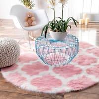 nuLOOM Cozy Soft and Plush Faux Sheepskin Tellis Shag Kids Nursery Pink Rug (5' Round)