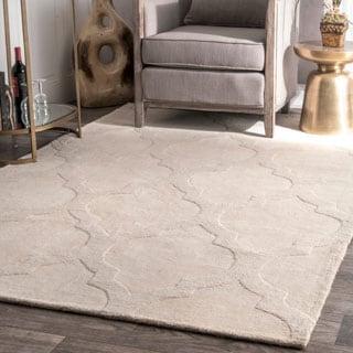 nuLOOM Handmade Abstract Raised Trellis Wool Cream Rug (8'6 x 11'6)