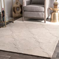 Oliver & James Starling Handmade Cream Wool Trellis Area Rug - 8'6 x 11'6