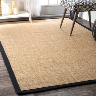 nuLOOM Eco Natural Fiber Black Cotton Border Sisal Herringbone Rug (3' x 5')