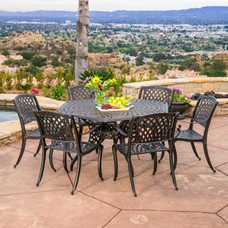 Christopher Knight Home Outdoor Cayman Hexagon Cast Aluminum Bronze Dining Table (ONLY)