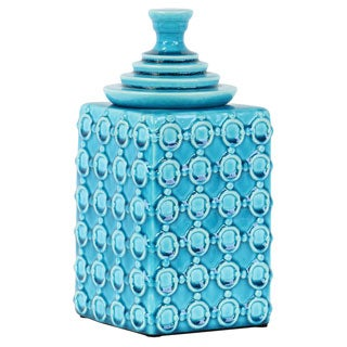 Ceramic Square Canister with Embossed Ring Pattern and Step Lid LG Gloss Finish Turquoise