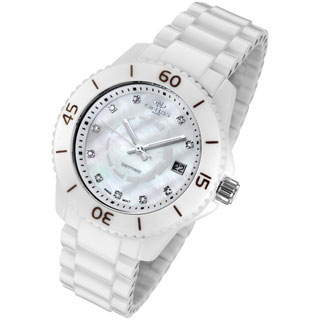 Oniss Women Diamond Accent Marker White Ceramic Watch