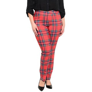 Shop the Trends Women's Plus Size Allover Plaid Print Pants With Elastic Waist
