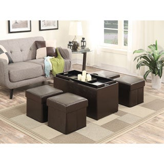 Designs4Comfort Manhattan Storage Bench with Four Collapsible Ottomans