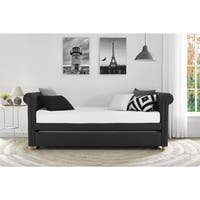 DHP Sophia Grey Linen Upholstered Daybed and Trundle