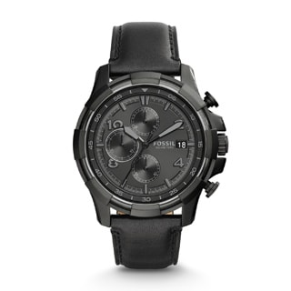 Fossil Men's FS5133 Dean Chronograph Black Dial Black Leather Watch