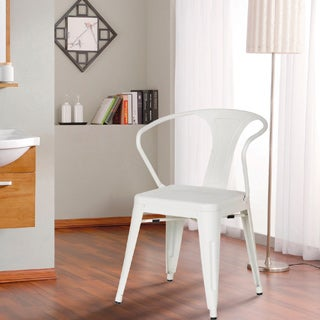 Adeco Cream White Metal Chair (Set of 2)