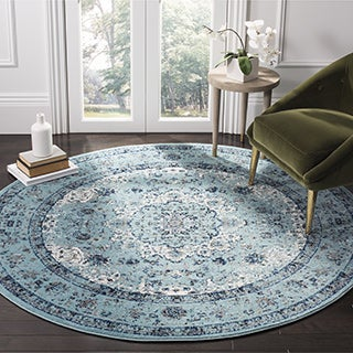 Safavieh Evoke Vintage Oriental Light and Dark Blue Distressed Rug (6'7 Round)