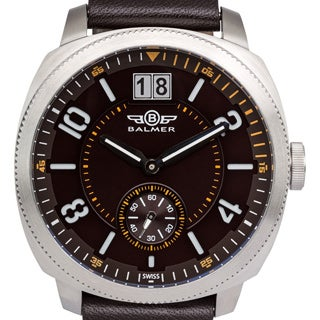 Balmer Stratos Men's Swiss-made Watch with Big Date, Genuine Leather Strap, and Super-LumiNova Sandwich-style Dial