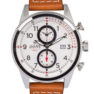 Jules Breting Adama Stainless Steel Men's Swiss Chronograph Quartz Leather Watch
