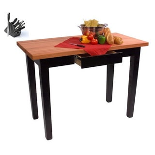 John Boos Cherry RN-C3624 36x34 Butcher Block Table with Drawer with 13-piece J.A. Henckels Knife Set
