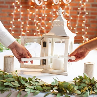 Personalized Rustic Unity Lantern w/2 Candle Holders