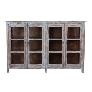 The Ezra Vintage Sideboard with Open Glass Doors