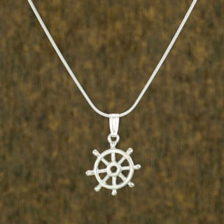Jewelry by Dawn Nautical Ship Wheel Sterling Silver Snake Chain Necklace