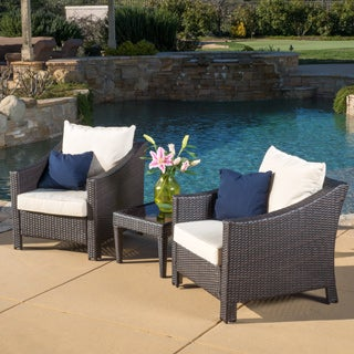 Outdoor Antibes 3-piece Wicker Bistro Set with Cushions by Christopher Knight Home