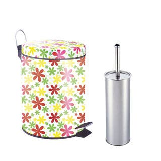 Designer Pattern Printed Step on Trash Bin (Spring Floral) with Toilet Brush (5L)|https://ak1.ostkcdn.com/images/products/P18087638m.jpg?impolicy=medium